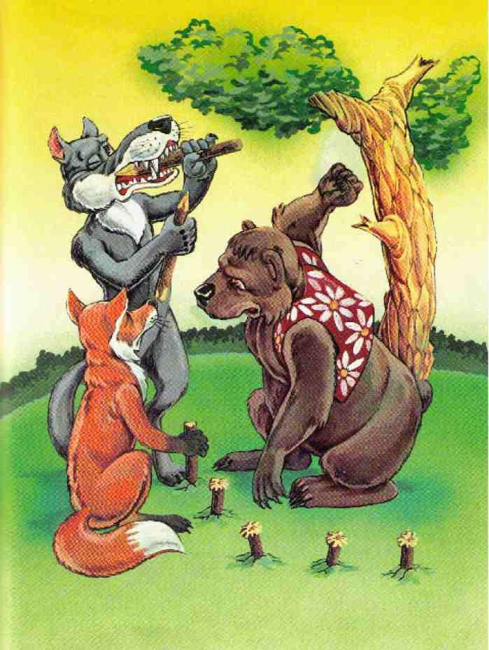 культурный иллюстрации к русской народной сказке лиса волк и медведь школы